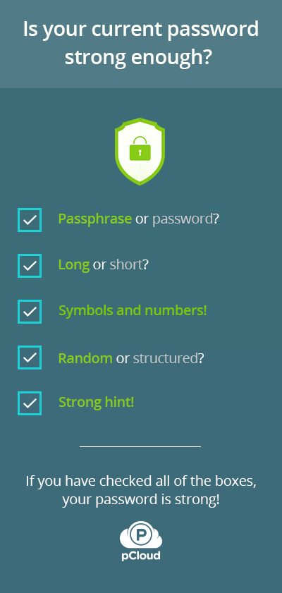 checklist for secure password with pCloud