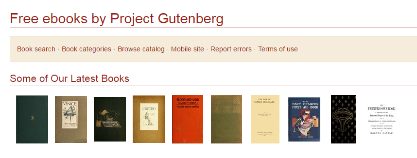 Project Gutenberg free e-book download